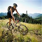 mountain biker on a trail Stock Photo - Premium Royalty-Free, Artist: CulturaRM, Code: 640-02952183