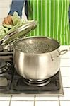 Woman cooking at gas stove Stock Photo - Premium Royalty-Free, Artist: Photocuisine, Code: 628-02953536