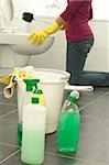 Woman cleaning toilet Stock Photo - Premium Royalty-Freenull, Code: 628-02953565