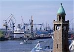 Hamburg Harbor with St. Pauli Landing Bridges, Germany Stock Photo - Premium Royalty-Free, Artist: Westend61, Code: 628-02953849