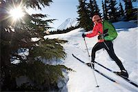 Female skier tours the Center Ridge area in Turnagain Pass of Chugach National Forest, Alaska                                                                                                            Stock Photo - Premium Rights-Managednull, Code: 854-02954904