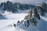 Mountaineer climbing on narrow ridge in Kichatna Mtns Denali National Park Interior Alaska Winter                                                                                                        Stock Photo - Premium Rights-Managednull, Code: 854-02955045