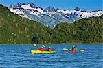 Kayakers on Big River Lakes with Tordillo Mountains in the background in the Redoubt Bay State Critical Habitat Area during Summer in Southcentral Alaska                                                Stock Photo - Premium Rights-Managed, Artist: AlaskaStock              , Code: 854-02955134