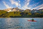 Kayakers on Big River Lakes with Chigmit Mountains in the background in the Redoubt Bay State Critical Habitat Area during Summer in Southcentral Alaska                                                 Stock Photo - Premium Rights-Managed, Artist: AlaskaStock              , Code: 854-02955135
