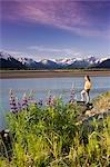 Young Couple Hiking Along 20 Mile River w/Lupine AK SC Chugach SP Chugach Mtns                                                                                                                           Stock Photo - Premium Rights-Managed, Artist: AlaskaStock              , Code: 854-02955177