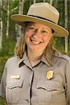 Portrait of a female US National Park  Interpretive Ranger at Denali National Park visitor center Alaska                                                                                                 Stock Photo - Premium Rights-Managed, Artist: AlaskaStock              , Code: 854-02955563