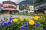Pedestrian traffic on downtown streets & Red Dog Saloon w/flowerbeds Juneau Alaska Southeast Summer                                                                                                      Stock Photo - Premium Rights-Managed, Artist: AlaskaStock              , Code: 854-02955591