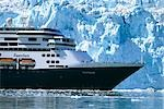 Holland America cruiseship *Zaandam* in front of Margerie Glacier Glacier Bay National Park SE Alaska                                                                                                    Stock Photo - Premium Rights-Managed, Artist: AlaskaStock              , Code: 854-02955624