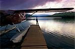 Fisherman Chelatna Lake Lodge Floatplane Docked Alaska Range Interior Summer Scenic