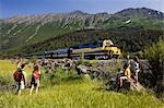 Family views AK Railroad Passenger Train near Bird Point, Turnagain Arm, SC Alaska Summer. Chugach SP                                                                                                    Stock Photo - Premium Rights-Managed, Artist: AlaskaStock              , Code: 854-02955691