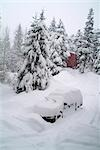 Snow Covered Car Sitting In Front Of Cabin Winter SC AK                                                                                                                                                  Stock Photo - Premium Rights-Managed, Artist: AlaskaStock              , Code: 854-02955701