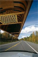 Car Drives on Highway w/ Canoe Fall SC AK /nDrivers Perspective                                                                                                                                          Stock Photo - Premium Rights-Managednull, Code: 854-02955729