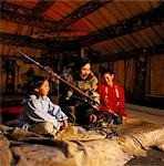 Yupik Artist Tells Hunting Stories to Children @ Mens House AK SC AK Native Heritage Center                                                                                                              Stock Photo - Premium Rights-Managed, Artist: AlaskaStock              , Code: 854-02955772