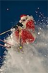 Santa Claus Downhill Skiing Big Mountain Resort Montana                                                                                                                                                  Stock Photo - Premium Rights-Managed, Artist: AlaskaStock              , Code: 854-02955873