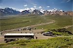 Visitors off ARAMARK tour bus @ Stony Hill view  Alaska Range Denali National Park Alaska                                                                                                                Stock Photo - Premium Rights-Managed, Artist: AlaskaStock              , Code: 854-02955947
