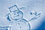 Drawing of snowman in new fresh snow Alaska winter                                                                                                                                                       Stock Photo - Premium Rights-Managed, Artist: AlaskaStock              , Code: 854-02956132
