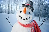 Portrait of snowman with red scarf and black top hat, Alaska                                                                                                                                             Stock Photo - Premium Rights-Managednull, Code: 854-02956135