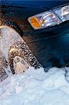 Vehicle Tire Stuck in Ditch Spinning Snow Winter SC AK                                                                                                                                                   Stock Photo - Premium Rights-Managed, Artist: AlaskaStock              , Code: 854-02956137