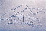 Snow drawing of cabin with landscape and stick people winter Alaska                                                                                                                                      Stock Photo - Premium Rights-Managed, Artist: AlaskaStock              , Code: 854-02956166