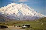 Visitors off ARAMARK tour bus @ Stony Hill view Mt.McKinley Alaska Range Denali National Park Alaska                                                                                                     Stock Photo - Premium Rights-Managed, Artist: AlaskaStock              , Code: 854-02956184