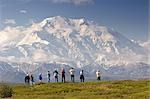 Group of tourists view Mt.McKinley from tundra overlook near Wonder Lake Denali National Park Alaska                                                                                                     Stock Photo - Premium Rights-Managed, Artist: AlaskaStock              , Code: 854-02956186