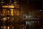 Golden Temple at Night, Amritsar, Punjab, India                                                                                                                                                          Stock Photo - Premium Rights-Managed, Artist: Sarah Murray             , Code: 700-02957806