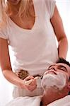 Woman shaving a man with razor                                                                                                                                                                           Stock Photo - Premium Rights-Managed, Artist: ableimages               , Code: 822-02958433