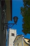 Lamp post by St Stephens Church in Motovun,Istria,Croatia                                                                                                                                                Stock Photo - Premium Rights-Managed, Artist: Axiom Photographic       , Code: 851-02959298