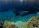 Man snorkelling in small bay on the island of Bisevo off Vis,Croatia.                                                                                                                                    Stock Photo - Premium Rights-Managed, Artist: Axiom Photographic       , Code: 851-02959329