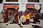 Nuns / monks in traditional dress with yellow orange hats and robes at 800 year old birthday celebration / rituals of the Buddhist Drukpa Lineage,Naro Photang Shey,(Shey Monastery),Leh Ladakh,Indian Himalayas,India Stock Photo - Premium Rights-Managed, Artist: Axiom Photographic       , Code: 851-02960399