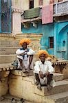 Two Rajput men sitting on steps in Bundi,Rajasthan,India                                                                                                                                                 Stock Photo - Premium Rights-Managed, Artist: Axiom Photographic       , Code: 851-02960437