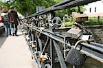 Love Padlocks on bridge,Vilnius,Lithuania                                                                                                                                                                Stock Photo - Premium Rights-Managed, Artist: Axiom Photographic       , Code: 851-02961392