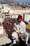 Local guide sitting above the tannery,Fez,Morocco                                                                                                                                                        Stock Photo - Premium Rights-Managed, Artist: Axiom Photographic       , Code: 851-02962037