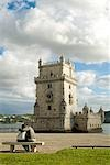 People kissing in front of Belem Tower,Belem,Portugal                                                                                                                                                    Stock Photo - Premium Rights-Managed, Artist: Axiom Photographic       , Code: 851-02962483