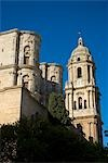 Malaga cathedral,low angle view,Malaga,Andalucia,Spain.                                                                                                                                                  Stock Photo - Premium Rights-Managed, Artist: Axiom Photographic       , Code: 851-02962913