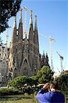 Tourist taking pictures of Sagrada Familia,Barcelona,Spain                                                                                                                                               Stock Photo - Premium Rights-Managed, Artist: Axiom Photographic       , Code: 851-02963047
