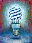 Painting of a Compact Fluorescent Light Bulb Stock Photo - Premium Royalty-Free, Artist: James Wardell            , Code: 600-02967569