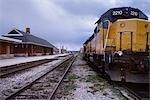 Train Yard and Station, Kitchener, Ontario, Canada                                                                                                                                                       Stock Photo - Premium Rights-Managed, Artist: Damir Frkovic            , Code: 700-02967594