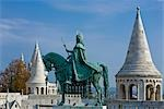 Statue of St Stephen and the Fisherman's Bastion, Buda, Budapest, Hungary
