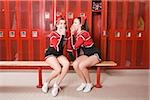Cheerleaders gossiping in locker room