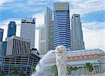 Singapore skyline & The Merlion                                                                                                                                                                          Stock Photo - Premium Rights-Managed, Artist: Oriental Touch           , Code: 855-02987796