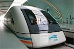Magnetically levitated (Maglev) train, Shanghai                                                                                                                                                          Stock Photo - Premium Rights-Managed, Artist: Oriental Touch           , Code: 855-02988230