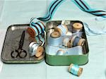Still Life of Sewing Items in a Tin Box Stock Photo - Premium Rights-Managed, Artist: Natasha Nicholson        , Code: 700-02989991