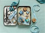Still Life of Sewing Items in a Tin Box Stock Photo - Premium Rights-Managed, Artist: Natasha Nicholson        , Code: 700-02989992