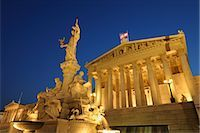 Pallas Athene Fountain and Parliament Building at Dusk, Vienna, Austria Stock Photo - Premium Rights-Managednull, Code: 700-02990021