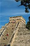 Tourists climbing El Castillo, pyramid dedicated to the god Kukulcan, Chichen Itza, UNESCO World Heritage Site, Yucatan, Mexico, North America                                                           Stock Photo - Premium Rights-Managed, Artist: Robert Harding Images, Code: 841-02991665