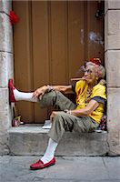 Old lady smoking cigar, Calla Empedrado, Havana, Cuba, West Indies, Central America                                                                                                                      Stock Photo - Premium Rights-Managednull, Code: 841-02991986