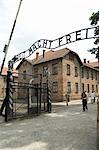 Entry gate with sign Arbeit Macht Frei (work makes you free), Auschwitz Concentration Camp, UNESCO World Heritage Site, Oswiecim, near Krakow (Cracow), Poland, Europe                                   Stock Photo - Premium Rights-Managed, Artist: Robert Harding Images, Code: 841-02992888