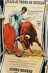 Old bull fighting posters for sale at the Bull Ring, Plaza de Toros de la Maestranza, El Arenal district, Seville, Andalusia, Spain, Europe                                                              Stock Photo - Premium Rights-Managed, Artist: Robert Harding Images, Code: 841-02994115