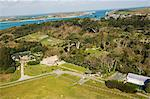 View over Abbey Gardens from helicopter, Tresco, Isles of Scilly, off Cornwall, United Kingdom, Europe                                                                                                   Stock Photo - Premium Rights-Managed, Artist: Robert Harding Images, Code: 841-02994489